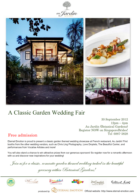 Wedding fair at au jardin eternal emotion singapore for Au jardin restaurant singapore botanic gardens